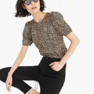 J. Crew poplin leopard top